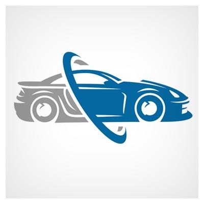 دانلود فایل لوگو لایه باز تصویر حلقه و خودرو در میان آن قابل اجرا در کلیه نرم افزارهای گرافیکی