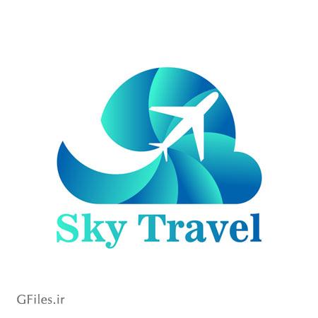 دانلود فایل تصویری لوگو وکتوری با مفهوم سفر آسمانی به شکل هواپیما با دو فرمت ai و eps