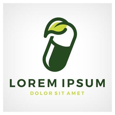 دانلود طرح لایه باز لوگو طرح نما برگ سبز و کپسول قابل ویرایش در نرم افزار ادوب ایلستریتور