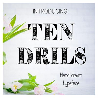 دانلود فونت زیبا و نقش دار Tendrils مناسب برای طراحی های فانتزی (فونت انگلیسی)