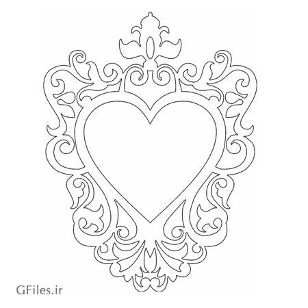 قاب و فریم آیینه به شکل قلب مناسب جهت برش لیزر و cnc