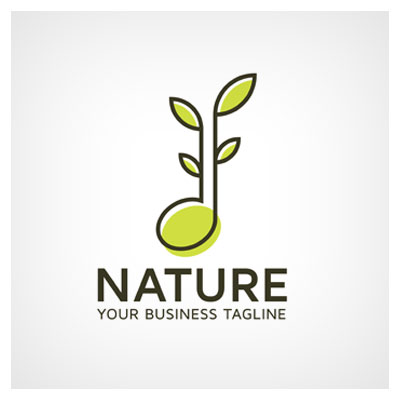 دانلود فایل تصویری ترکیبی نماد موسیقی با شاخه گیاه مناسب لوگو ارائه شده با دو فرمت ai و eps
