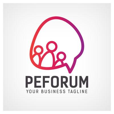 دانلود طرح لایه باز لوگو برند peforum با تصویر گفتگوی افراد قابل ویرایش در نرم افزار ادوب ایلستریتور