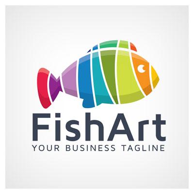 دانلود طرح لوگو لایه باز تصویر ماهی رنگارنگ برای برند هنر ماهی ارائه شده با دو فرمت ai و eps