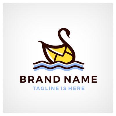 دانلود طرح نام برند شرکتی به صورت لوگو لایه باز ترکیب تصویر قو با پاکت نامه با دو فرمت ai و eps