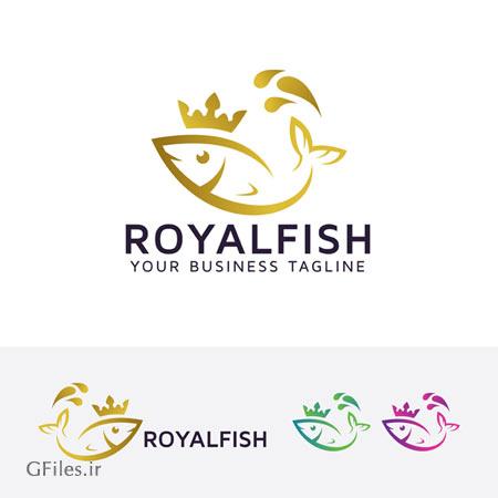 دانلود طرح لایه باز لوگو ماهی سلطنتی با تصویر ماهی طلایی ارائه شده با دو فرمت ai و eps