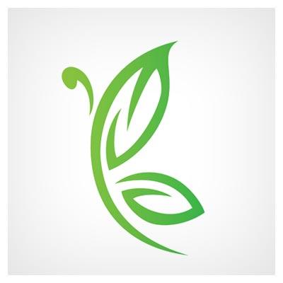 دانلود طرح لایه باز گرافیکی لوگو ترکیبی هوشمندانه تصویر برگ سبز و پروانه قابل اجرا در کلیه نرم افزارهای گرافیکی