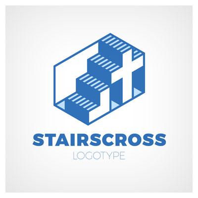 دانلود فایل لوگو مفهومی پله ها به صورت لایه باز با تصویر پله و صلیب با دو فرمت ai و eps