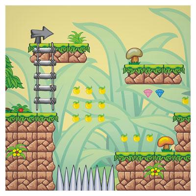 دانلود فایل لایه باز بکگراند آماده بازی با نمای سکوهای سنگی در طبیعت ، مناسب برای طراحی ui بازی های موبایلی