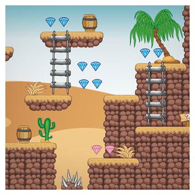 دانلود فایل وکتور eps و ai پس زمینه بازی الماس های معلق در طبیعت صحرا ، مناسب برای طراحان بازی های موبایلی