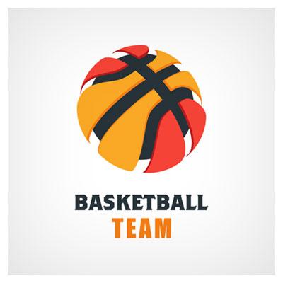 دانلود فایل لوگو وکتوری با مفهوم تیم بسکتبال، با نماد توپ بزرگ بسکتبال، ارائه شده با دو فرمت ai و eps