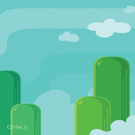 دانلود بکگراند وکتوری بازی تپه های بطری مانند ، مناسب برای طراحی ui بازی های تلفن همراه