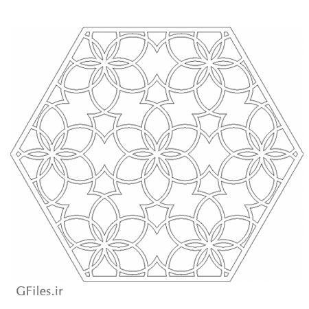 طرح شش ضلعی تذهیبی مناسب برای برش لیزر یا حک و cnc