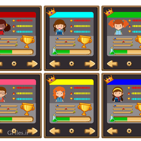 دانلود فایل تمپلت و قالب بازی به صورت کارت های مختلف با کاراکترها و دکمه ها و کلیدهای بازی، مناسب برای طراحی ui بازی های تلفن همراه