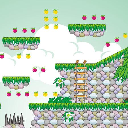 دانلود پس زمینه کارتونی لایه باز به صورت مناظر طبیعی، مناسب برای طراحان بازی های دو بعدی موبایلی