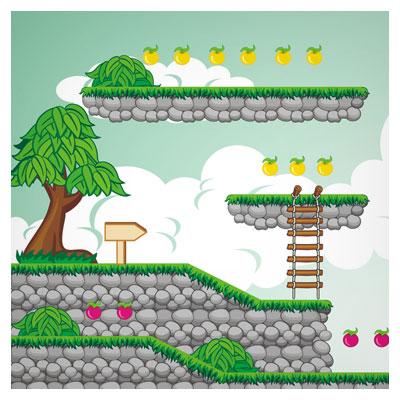 دانلود فایل بکگراند کارتونی بازی به شکل سکوی سنگی در طبیعت، مناسب برای طراحان بازی تلفن همراه