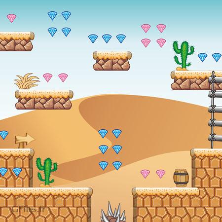 دانلود طرح وکتوری پس زمینه کارتونی بازی، با نمای بیابان و صحرا، قابل ویرایش در نرم افزار ادوب ایلستریتور