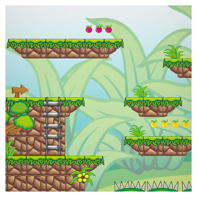 دانلود فایل بکگراند بازی کارتونی طبیعت و پله های سنگی، به صورت eps و ai وکتوری، مناسب برای طراحی ui بازی های تلفن همراه