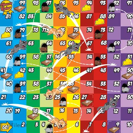 دانلود فایل وکتوری قالب و تمپلت بازی گربه در مقابل موش به صورت خانه های رنگی مربعی، مناسب برای طراحان گیم موبایلی