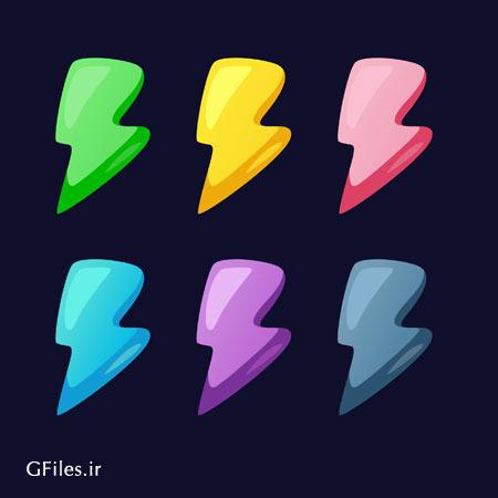 دانلود فایل لایه باز eps و ai مجموعه عناصر و المان های بازی به شکل نمادهای رنگی انرژی
