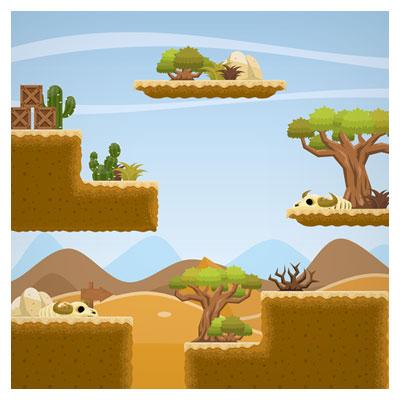 دانلود فایل وکتوری پس زمینه بازی کویر با نمای بیابان و صحرا ، مناسب برای طراحان بازی های موبایلی