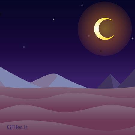 دانلود فایل وکتوری بکگراند بازی کویر به صورت eps و ai به حالت تیره در شب ، مناسب برای طراحان گیم موبایلی