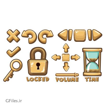 دانلود فایل لایه باز eps و ai مجموعه عناصر و المان های بازی شامل ساعت شنی، کلید و قفل و ... ، مناسب برای طراحی ui بازی های موبایلی