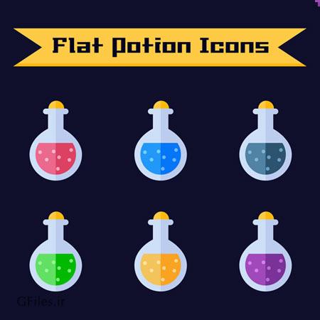 دانلود فایل مجموعه رابط های گرافیکی ظروف یک شکل با مایعات رنگی مختلف، مناسب برای طراحی ui بازی های تلفن همراه