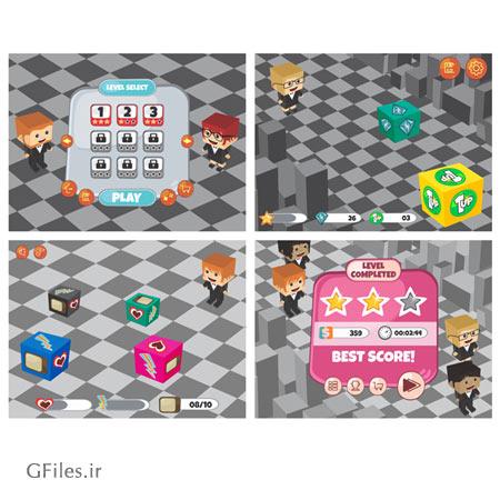دانلود المان ها و عناصر بازی در چهار پس زمینه به صورت لایه باز، مناسب برای طراحی ui بازی های موبایلی