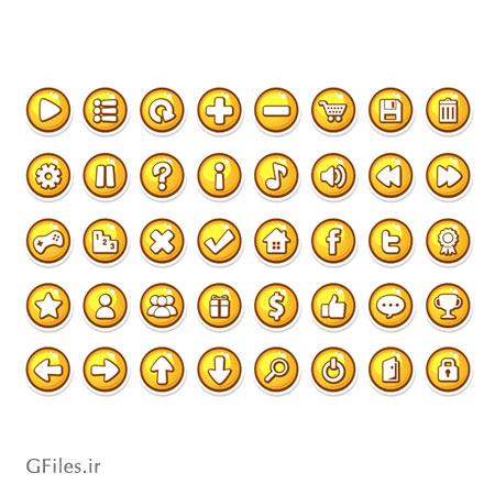 دانلود آیکون ها و کلیدهای بازی، به صورت وکتوری با رنگ زرد، قابل ویرایش در نرم افزار ادوب ایلستریتور