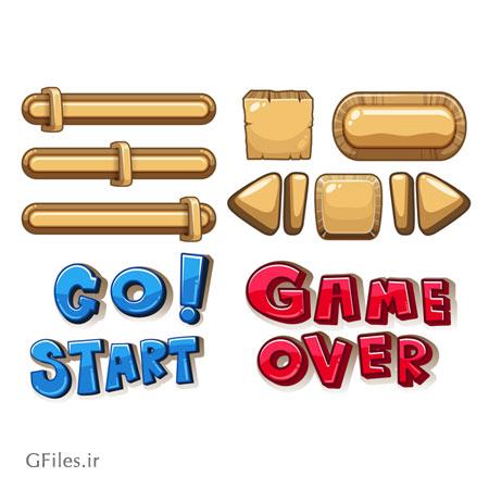 دانلود فایل وکتوری المان ها و عناصر بازی شامل آیکون های تصویری، کلیدها و پیغام ها، مناسب برای طراحی ui گیم