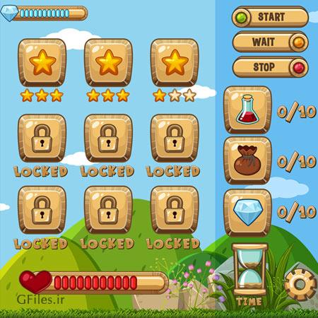 دانلود فایل دیزاین بازی کوه ها، پس زمینه وکتوری بازی موبایلی، قابل ویرایش در نرم افزار ادوب ایلستریتور