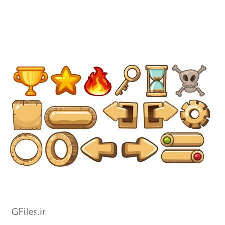 دانلود فایل بخش های مختلف بازی مانند المان ها، فلش ها، دکمه ها و سمبل ها، مناسب برای طراحان گیم موبایلی