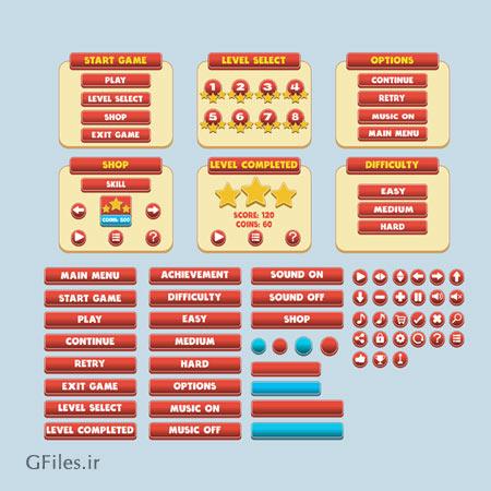 دانلود طرح المان ها و آیکون های بازی، شکل گوی های ساده بر روی صفحه مسطح، مناسب برای طراحان بازی تلفن همراه