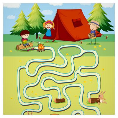 دانلود فایل تمپلت و قالب بازی به صورت پس زمینه لایه باز، چادر زدن بچه ها در مزرعه، مناسب برای طراحی ui گیم