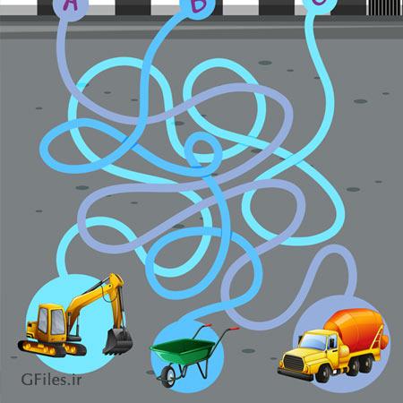 دانلود پس زمینه بازی ماز، قالب بازی وکتوری با تصویر وسایل مشاغل، مناسب برای طراحان بازی تلفن همراه