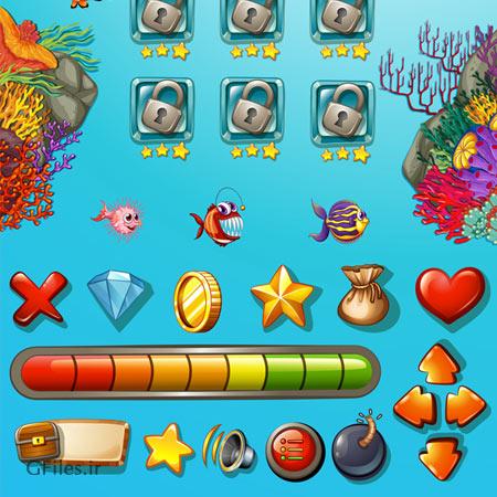 دانلود فایل تمپلت و منوی کامل بازی وکتوری، غواصان و حیوانات دریایی، مناسب برای طراحان بازی