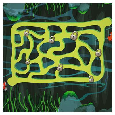 دانلود فایل تمپلت پس زمینه بازی شنا کردن ماهی در حوضچه، مناسب برای طراحان گیم موبایلی