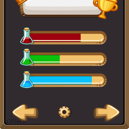 دانلود فایل وکتوری المان ها و بخش های مختلف بازی مانند فلش ها و آیکون ها، به صورت تصویری مناسب بازی موبایلی