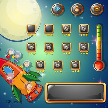 دانلود طرح گرافیکی لایه باز تم بازی فضایی با قالب کهکشانی، مناسب برای طراحان بازی تلفن همراه
