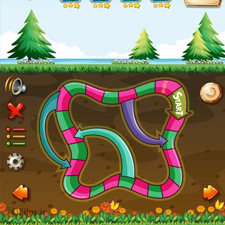 دانلود فایل تمپلت و قالب فریم بازی، با دیزاین زیر زمین و کلیدها و المان های بازی، مناسب برای طراحی ui بازی های تلفن همراه