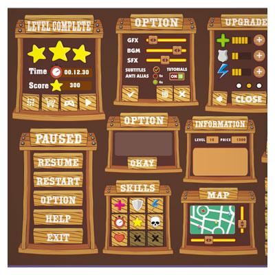 دانلود رابط گرافیکی و المان های بازی برای ساخت بازی موبایلی، قابل ویرایش در نرم افزار ادوب ایلستریتور