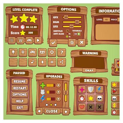 دانلود فایل فریم و المان بازی، استایل کارتونی طراحی شده برای تولید بازی موبایلی با فرمت eps و ai