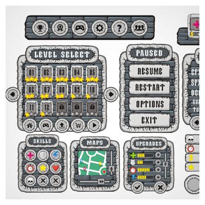 دانلود فایل لایه باز تصویری المان ها و آیکون های بازی، به صورت طراحی کارتونی با دو فرمت eps و ai