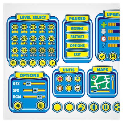 دانلود فایل لایه باز آماده رابط گرافیکی بازی، با فریم و آیکون بازی طراحی شده به صورت کارتونی برای بازی موبایلی