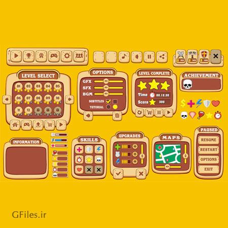دانلود فایل المان و عناصر بازی شامل کلید و باکس و فریم، مناسب برای طراحان بازی های موبایلی