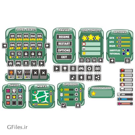 دانلود طرح کارتونی عناصر بازی مانند کلید و دکمه و نشانه های تصویری، مناسب برای طراحان گیم موبایلی