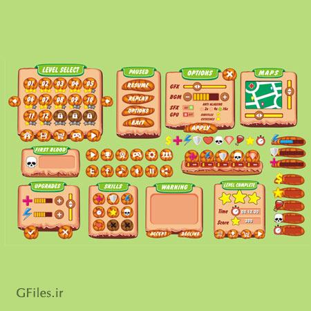 دانلود فایل eps و ai عناصر و بخش های بازی به صورت لایه باز، قابل ویرایش در نرم افزار ادوب ایلستریتور