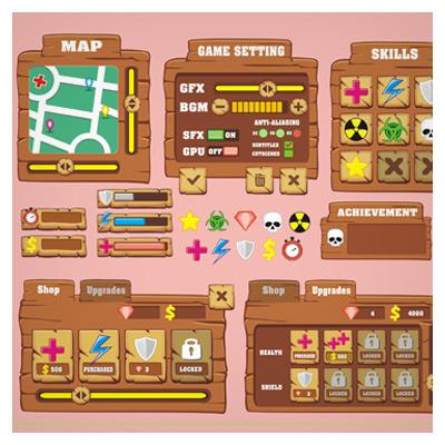دانلود طرح رابط گرافیکی کارتونی فریم و آیکون بازی، مناسب برای طراحی ui گیم به صورت وکتوری و لایه باز
