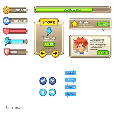 دانلود مجموعه المان ، آیکون و بخش های مختلف بازی بصورت کاملا لایه باز و دو بعدی
